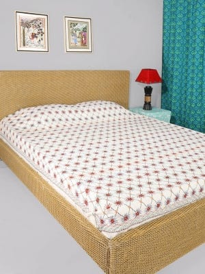Off-White Nakshi Kantha Embroidered Cotton Bed Cover