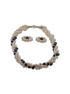 Deep Blue Simulated Stone and White Pearl Beaded Necklace Set