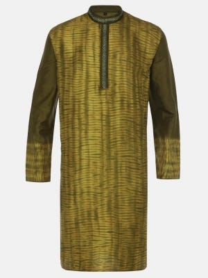 Moss Green Tie-Dyed and Embroidered Silk Panjabi