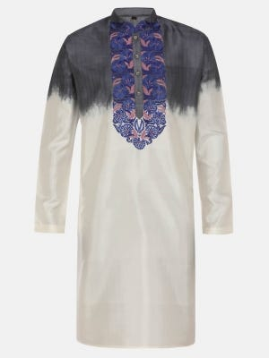 Ivory Dyed and Embroidered Silk Panjabi