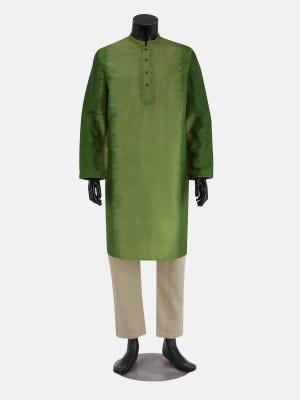 Parrot Green Tie-Dyed And Embroidered Silk Panjabi Pajama Set