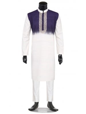 Ivory Tie-Dyed and Embroidered Endi Silk Panjabi