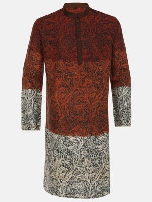 Rust Ombre Dyed and Printed Endi Silk Panjabi