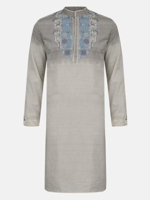 Off White Embroidered Ombre Waxed Endi Cotton Panjabi