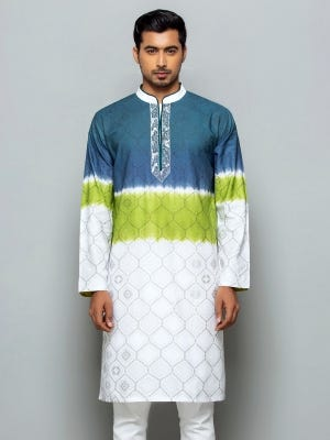 White Tie-Dyed, Printed and Embroidered Viscose-Cotton Panjabi