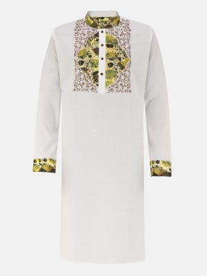 White Printed and Embroidered Cotton Slim Fit Panjabi