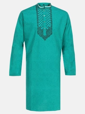 Turquoise Printed and Embroidered Mixed Cotton Panjabi