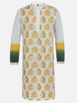 White Dyed and Printed Cotton Slim Fit Panjabi