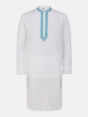 White Printed and Embroidered Addi Cotton Panjabi