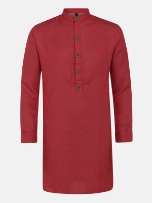 Red Erri Embroidered Slim Fit Mixed Cotton Panjabi