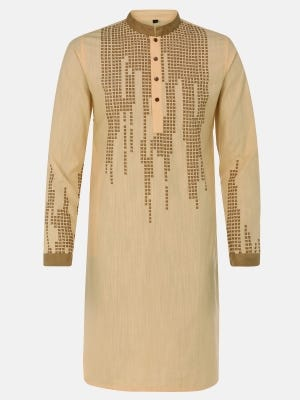 Light Brown Printed and Embroidered Viscose Slim Fit Panjabi