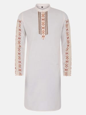 Off White Printed and Erri Embroidered Viscose-Cotton Slim Fit Panjabi