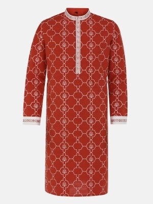 Brick Red Embroidered and Printed Slim Fit Cotton Panjabi