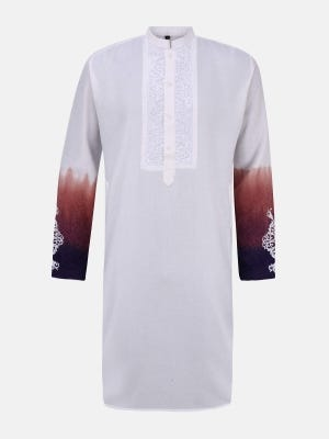 White Ombre Dyed and Embroidered Viscose-Cotton Panjabi