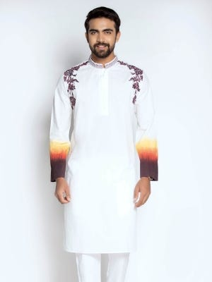 White Ombre Dyed and Embroidered Cotton Panjabi