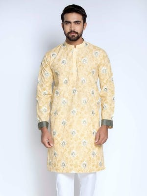 Pastel Yellow Printed and Embroidered Cotton Panjabi