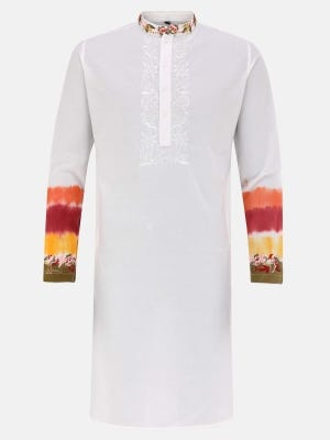 White Printed and Tie-Dyed Cotton Slim Fit Panjabi