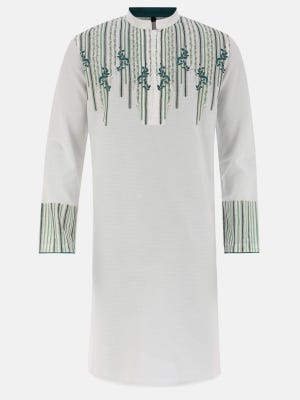 White Printed and Embroidered Viscose-Cotton Panjabi