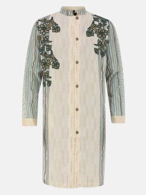Ivory Printed and Embroidered Cotton Panjabi