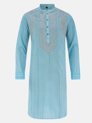 Blue Brush Painted and Embroidered Cotton Slim Fit Panjabi