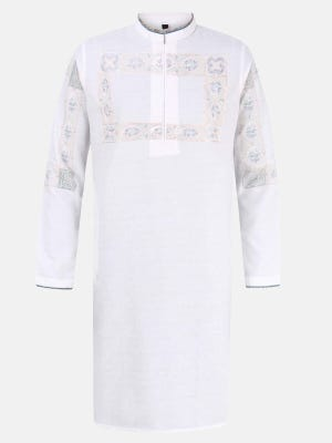White Printed and Embroidered Viscose-Cotton Slim it Panjabi