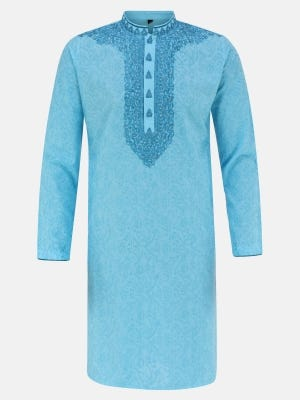 Blue Printed and Embroidered Viscose-Cotton Slim Fit Panjabi