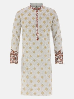 White Printed and Embroidered Handloom Cotton Slim Fit Panjabi