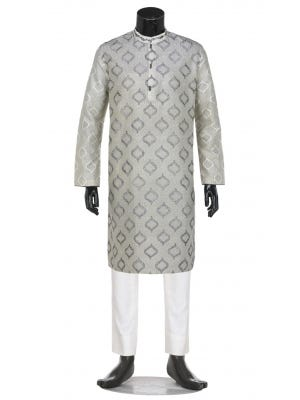 White Printed and Embroidered Silk-Cotton Panjabi