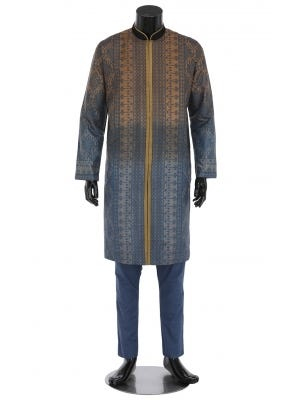 Brown Tie-Dyed and Erri Embroidered Silk-Cotton Panjabi