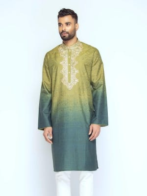 Pastel Green Tie-Dyed and  Embroidered Mixed Cotton Panjabi