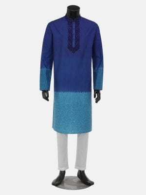 Blue Ombre Dyed and Embroidered Mixed Silk Panjabi Pajama Set