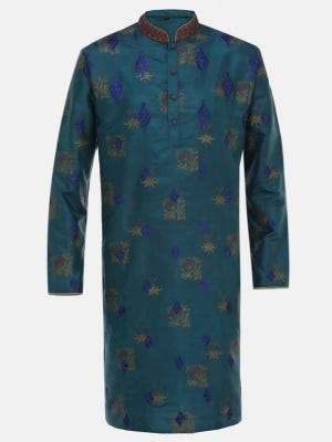 Teal Blue Printed and Embroidered Silk Panjabi