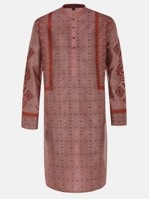 Dusty Pink Printed and Embroidered Silk Panjabi
