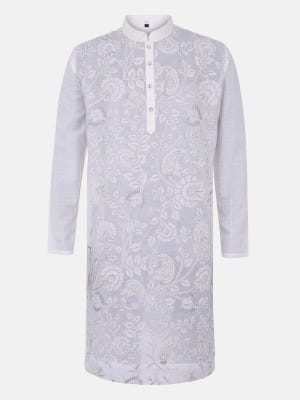 White Embroidered and Appliqued Cotton Panjabi