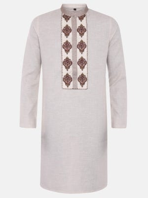 Light Brown Embroidered Mixed Cotton Slim Fit Panjabi