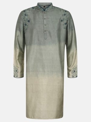 Sage Green Ombre Dyed and Embroidered Endi Silk Panjabi