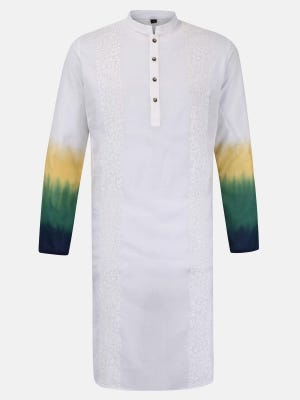 White Ombre Dyed and Embroidered Addi Cotton Panjabi