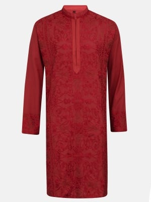 Red Embroidered Viscose-Cotton Panjabi
