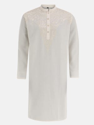 Off White Embroidered Cotton Panjabi