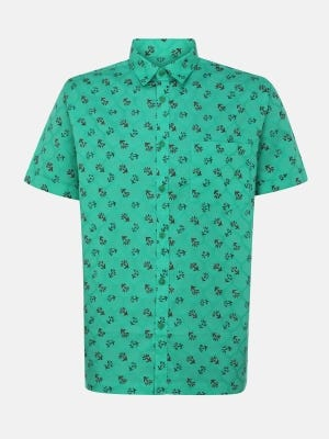 Turquoise Printed Cotton Shirt
