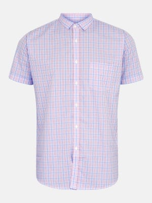 Lavender Check Mixed Cotton Fitted Shirt