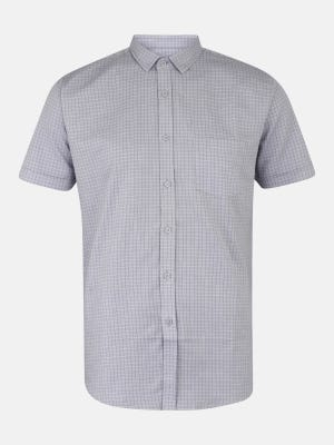 Light Grey Mixed Cotton Fitted Shirt