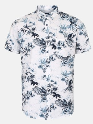 White Printed Mixed Cotton Fitted Shirt