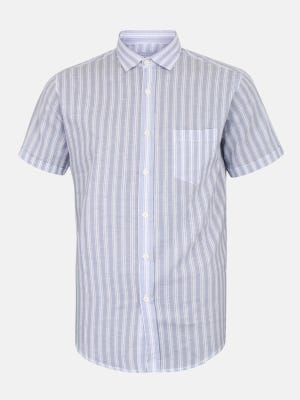 Blue Check Mixed Cotton Fitted Shirt
