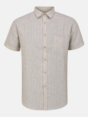 Beige Ramie Cotton Fitted Shirt
