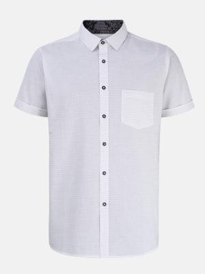 White Mixed Cotton Fitted Shirt