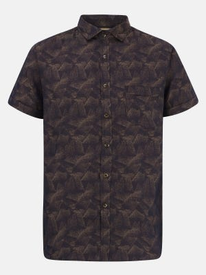 Deep Brown Mixed Cotton Fitted Shirt