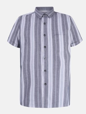 Grey Mixed Cotton Fitted Shirt