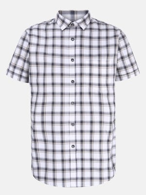 White Check Mixed Cotton Fitted Shirt