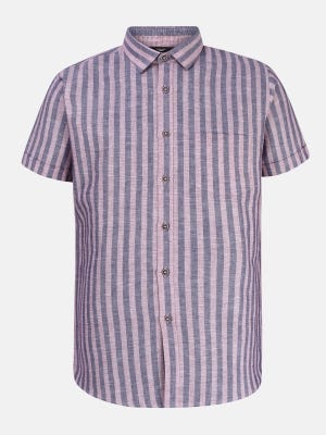 Pink Striped Ramie Cotton Fitted Shirt